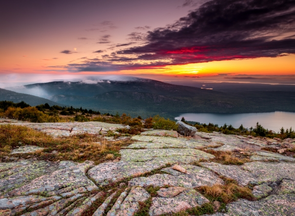 Sunset in Acadia national park, cadillac mountain