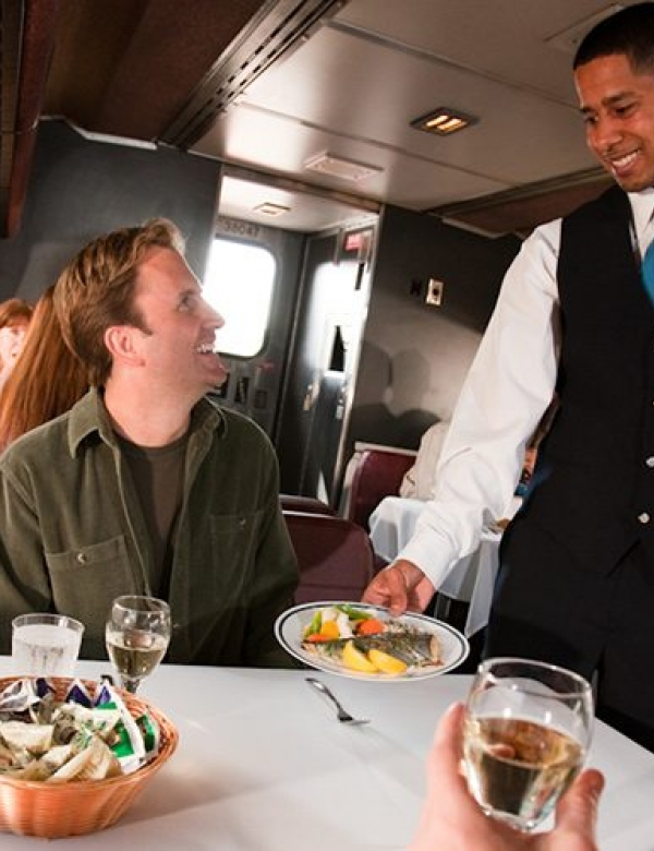 amtrak dining service providing a special meal
