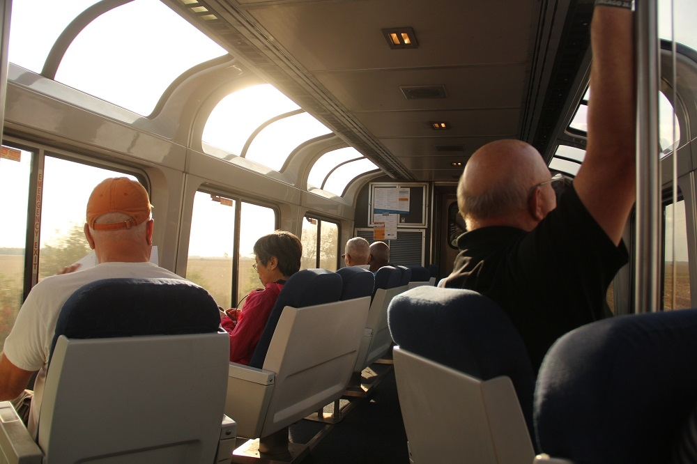 Obervation car onboard California Zephyr train