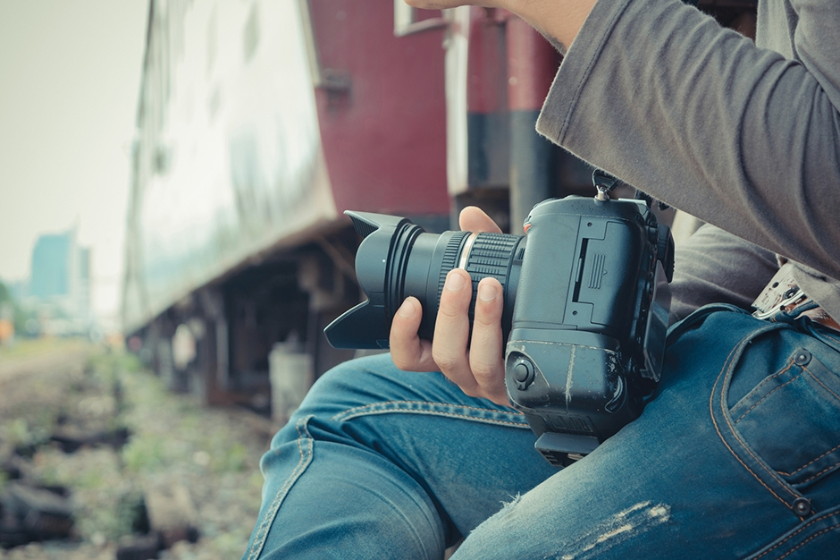 Photographer and Thai train , process in vintage style