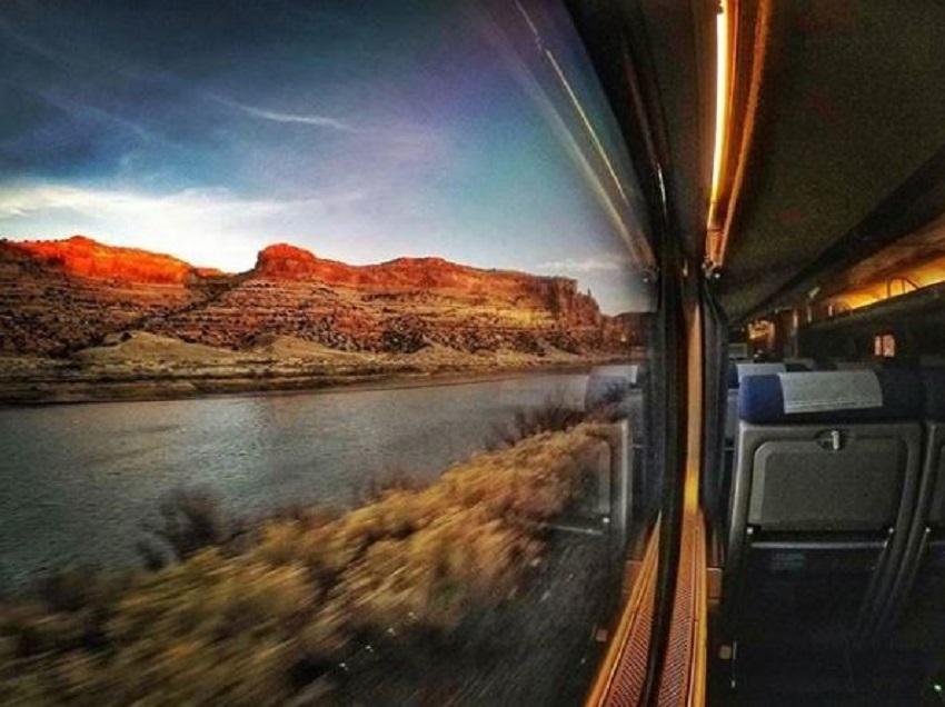Amtrak traversing through Utah